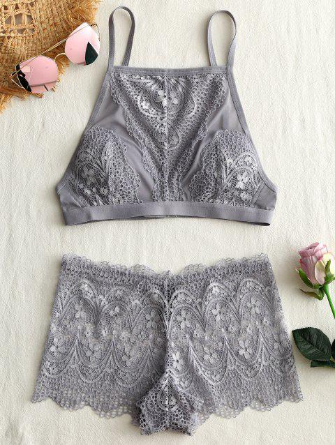 Lace See Thru Cami Bra Set - GRAY 75A
