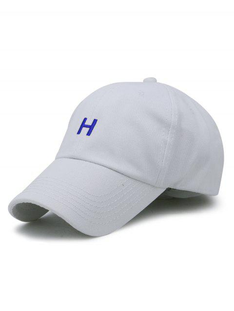 Simple H Embroidery Adjustable Baseball Cap - WHITE