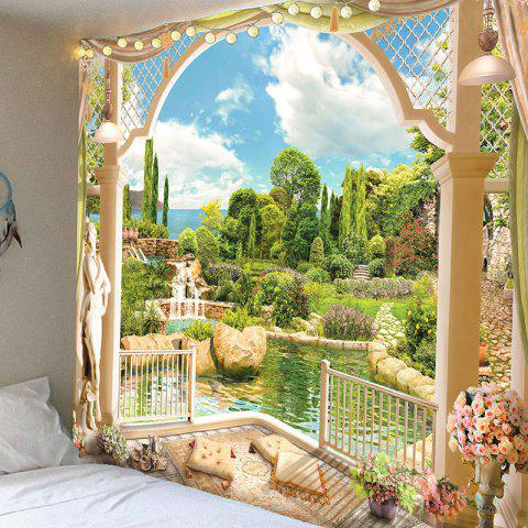 Garden Printed Waterproof Wall Hanging Art Tapestry - GREEN W79 INCH * L59 INCH