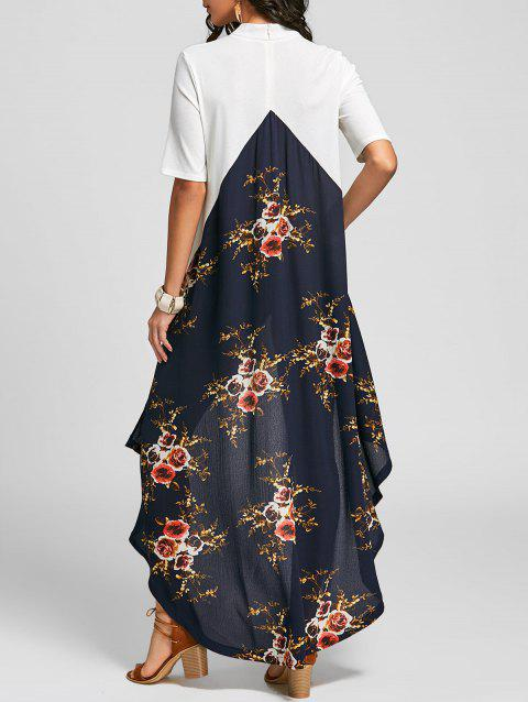 Asymmetric Color Block Floral Long Dress - WHITE L
