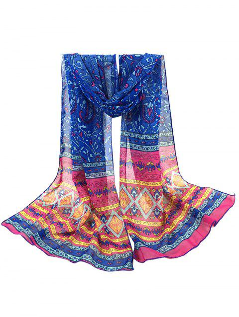Vintage Ethnic Style Pattern Decorated Long Scarf - BLUE
