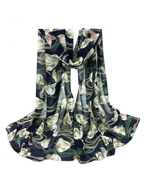 Tulips Pattern Embellished Silky Long Scarf - CADETBLUE
