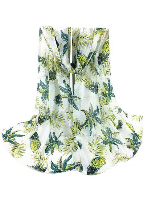 Pineapple Pattern Embellished Silky Long Scarf - WHITE