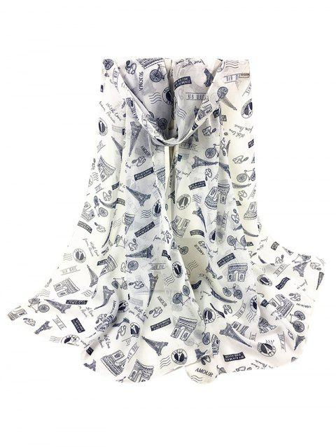 Vintage Eiffel Tower Pattern Silky Long Scarf - WHITE