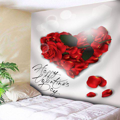 Valentine's Day Rose Heart Printed Decorative Wall Art Tapestry - A22 RED/WHITE W59 INCH * L59 INCH