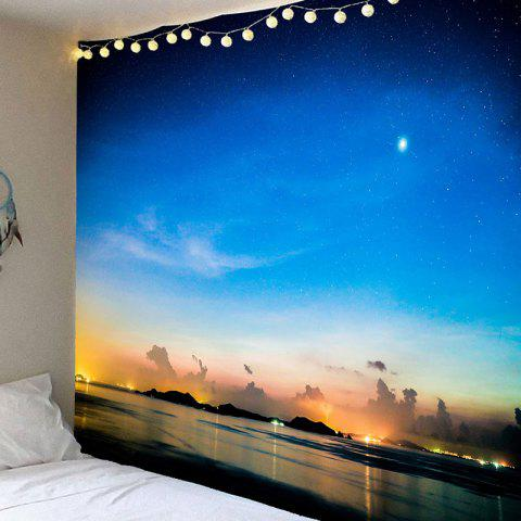 Night Seascape Printed Waterproof Wall Hanging Art Tapestry - BLUE W91 INCH * L71 INCH