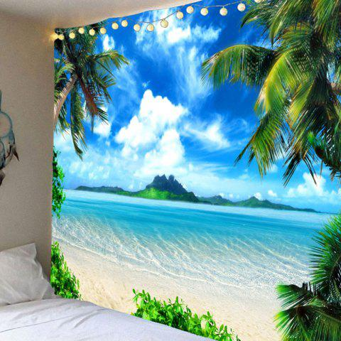 Vacation Island Beach Pattern Wall Art Waterproof Hanging Tapestry - BLUE W79 INCH * L59 INCH