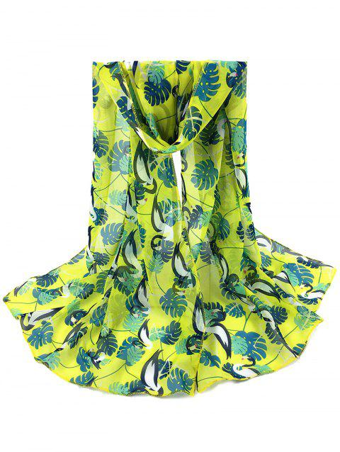 Cute Ostrich Pattern Decorated Long Scarf - YELLOW
