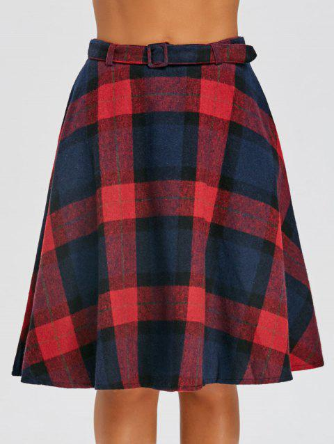 Plaid High Waisted A Line Skirt - RED M