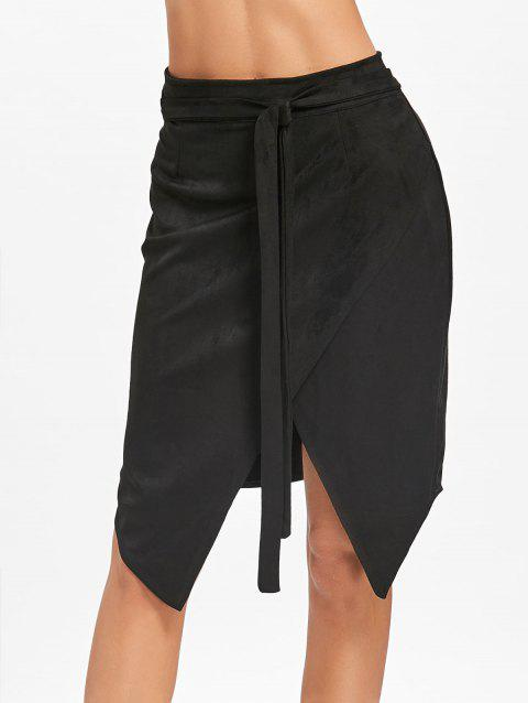 High Waisted Asymmetrical Wrap Skirt - BLACK L