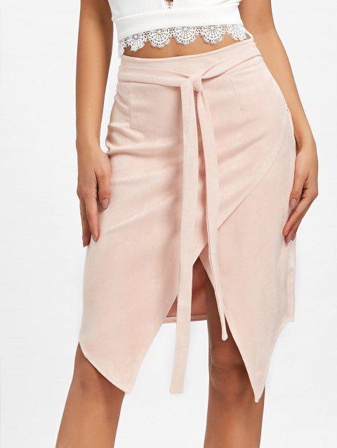 High Waisted Asymmetrical Wrap Skirt - CAMEO S