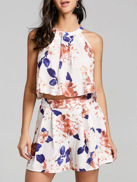 Floral Shorts Two Piece Set - OFF WHITE M