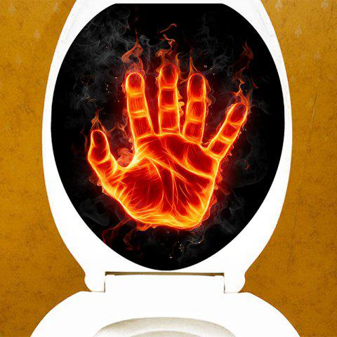 Flame Palm Print Toilet Sticker - COLORFUL 12.6*15.4 INCH