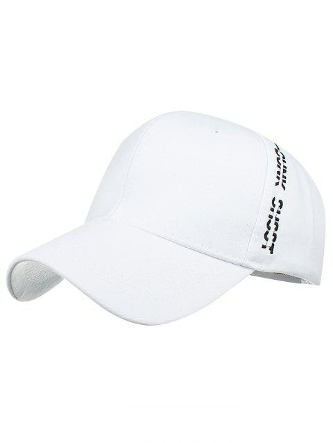 Letter Embroidered Side Baseball Hat - WHITE