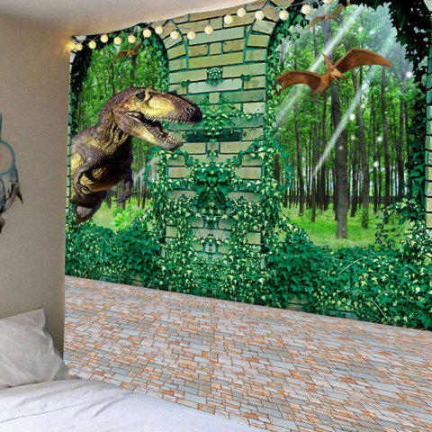 Dinosaurs in Forest Pattern Home Decoration Waterproof Hanging Tapestry - GREEN W59 INCH * L51 INCH