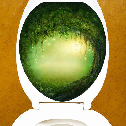 Magical Tree Bath Decor Toilet Sticker - GREEN 12.6*15.4 INCH