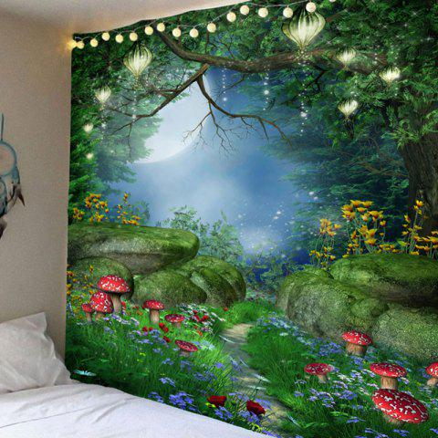 Fantastic Mushroom Forest Pattern Bedroom Decor Hanging Tapestry - COLORFUL W91 INCH * L71 INCH