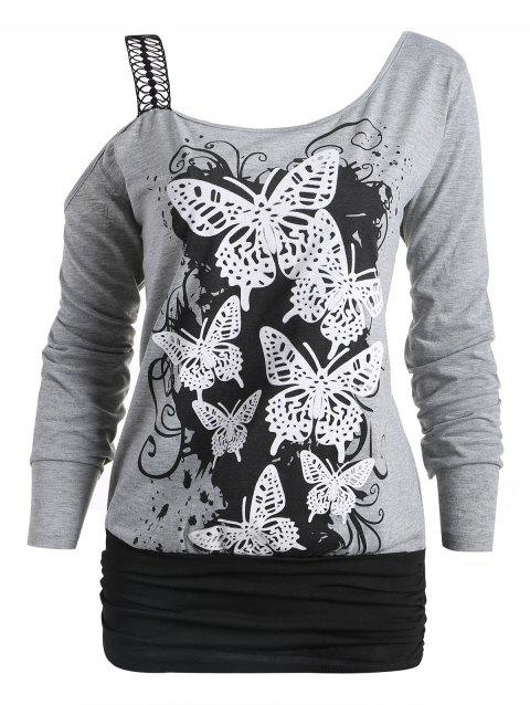 One Cold Shoulder Butterfly Print Long Sleeve T-shirt - GRAY L