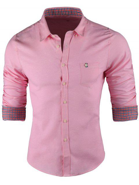 Plaid Trim Button-Down Long Sleeve Shirt - PINK 3XL