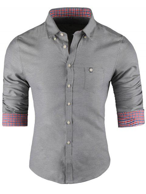 Plaid Trim Button-Down Long Sleeve Shirt - GRAY XL