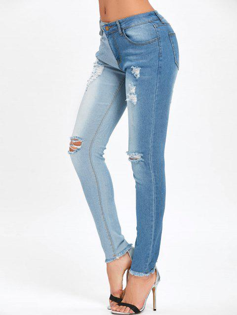 Ripped Two Tone Color Jeans - BLUE L