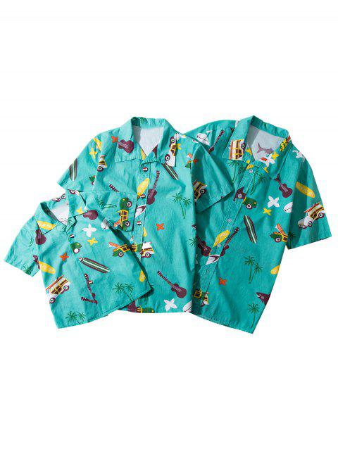 Matching Family Hawaiian Cartoon Print Shirt - BLUE KID M