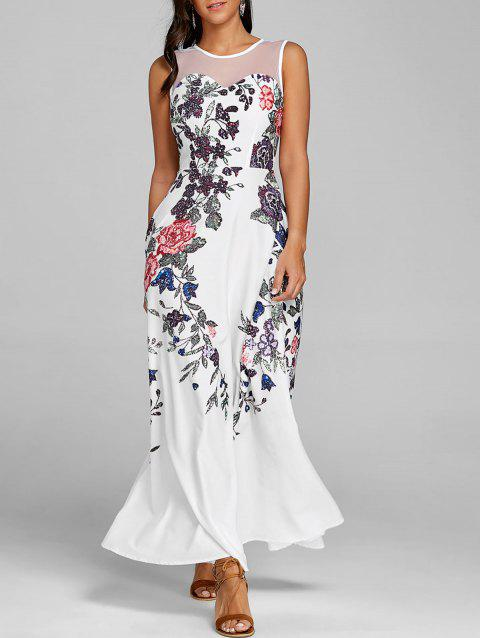 Floral Print Mesh Insert Maxi Dress - WHITE 2XL