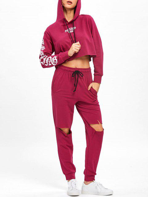 Distressed Cropped Hoodie and Drawstring Pants - PURPLISH RED L