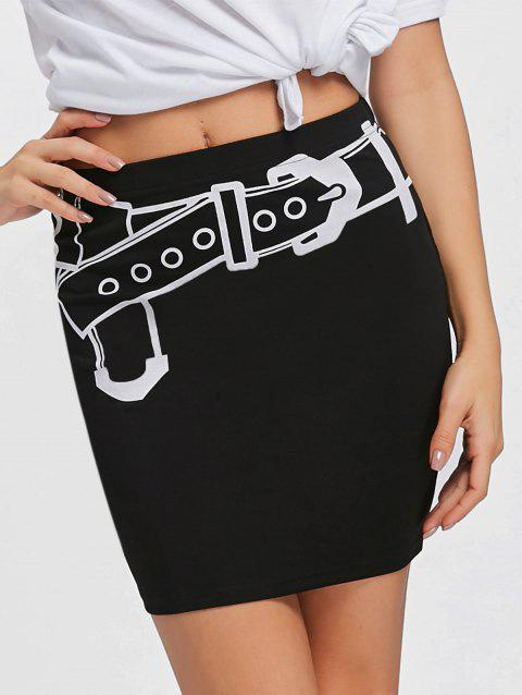 Belt Illusion Print Fitted Skirt - BLACK M