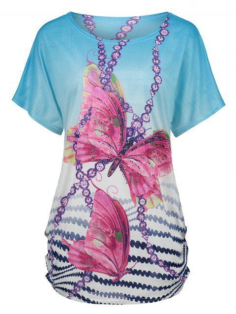 Butterfly Print Tunic Graphic Tee - BLUE ONE SIZE