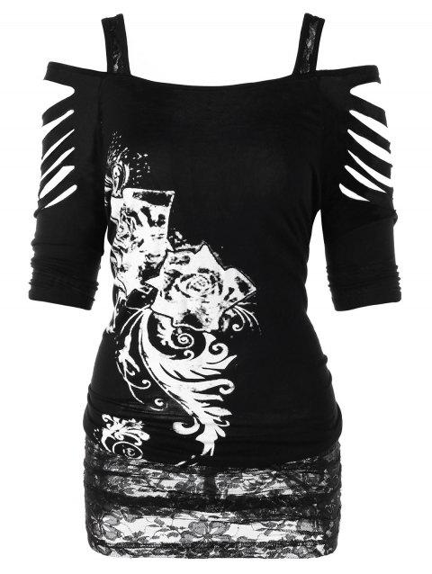 Plus Size Shredding Cold Shoulder T-shirt - BLACK 2XL