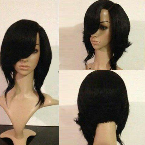 Medium Side Parting Straight Flip Synthetic Wig - BLACK