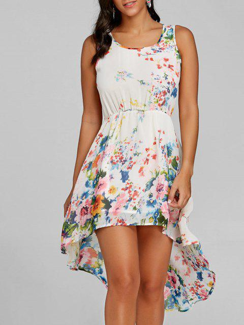 Sleeveless Floral Print High Low Dress - OFF WHITE L