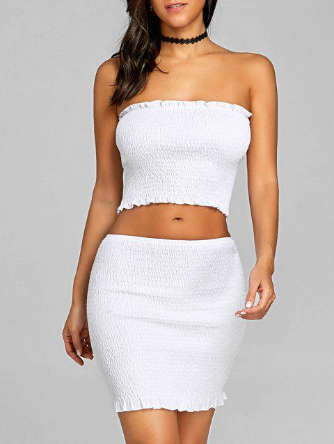 Ruffle Shirred Two Piece Dress - WHITE M