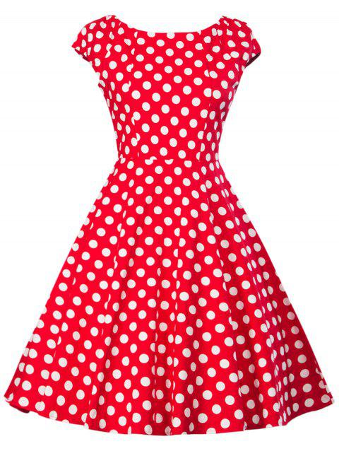 Retro Polka Dot Flare Dress - RED XL