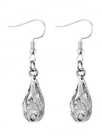 Hollow Out Waterdrop Faux Diamond Inlay Drop Earrings