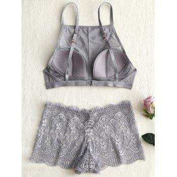 Lace See Thru Cami Bra Set - GRAY 80C