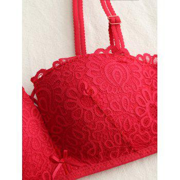 Padded Push Up Lace Bra Set - RED RED