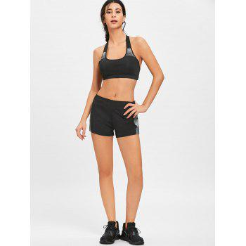 Striped Bra and Shorts Sports Suit - BLACK 2XL