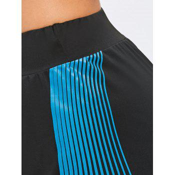Striped Bra and Shorts Sports Suit - BLUE/BLACK 2XL