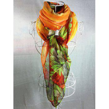 Vintage Coralline Leaves Pattern Silky Long Scarf - ORANGE