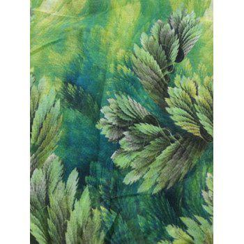 Vintage Coralline Leaves Pattern Silky Long Scarf - GREEN