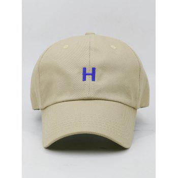 Casquette de baseball ajustable Simple H Embroidery - Kaki