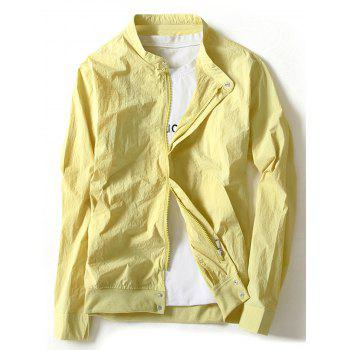 Zip Up Rib Panel Lightweight Jacket - GINGER GINGER