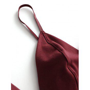 Contrast Valentine Plunge Bralette and Thong Set - WINE RED L