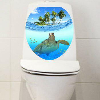 Ocean Turtle Print Bathroom Decor Toilet Sticker - BLUE 12.6*15.4 INCH