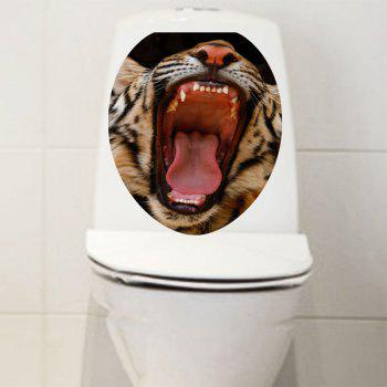 Opening Mouth Tiger Print Toilet Sticker - COLORMIX 12.6*15.4 INCH