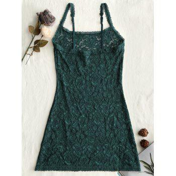 Lingerie Lace Sheer Slip Babydoll - GRASS GREEN ONE SIZE