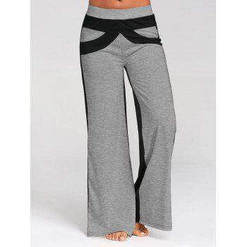Color Block Wide Legged Pants - GRAY GRAY