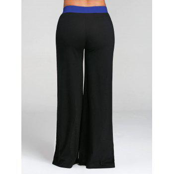 Color Block Wide Legged Pants - BLUE M